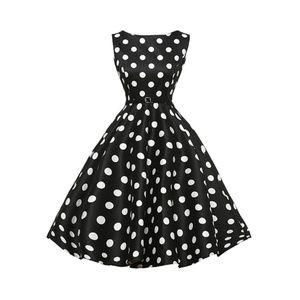 Dresses & Skirts - Black Dots Boatneck Vintage Tea Belted Dress